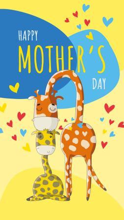 Template di design Giraffe kissing its baby on Mother's Day Instagram Story
