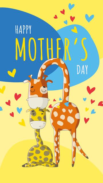 Ontwerpsjabloon van Instagram Story van Giraffe kissing its baby on Mother's Day