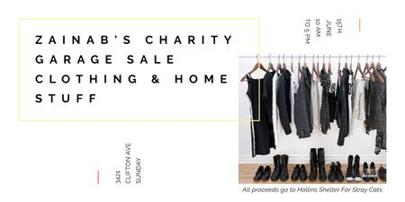 Charity Sale announcement Black Clothes on Hangers Imageデザインテンプレート