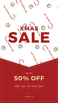 Christmas Sale with Candy Cane and Cookies | Vertical Video Template