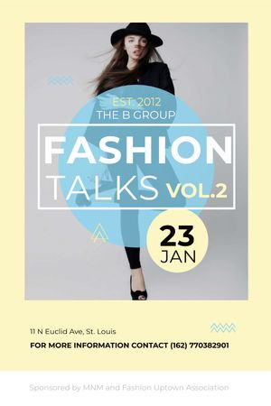 Ontwerpsjabloon van Tumblr van Fashion talks announcement with Stylish Woman