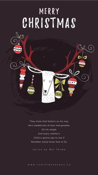 Christmas Greeting with Baubles on Deer Antlers