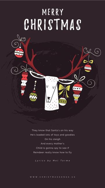Modèle de visuel Christmas Greeting with Baubles on Deer Antlers - Instagram Video Story