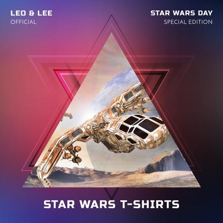 Template di design Spaceship over planet landscape for Star Wars Day Instagram AD