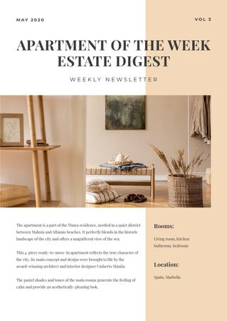 Designvorlage Apartments of the week Review für Newsletter