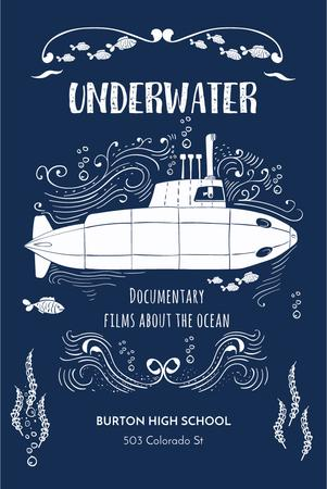 Plantilla de diseño de Underwater documentary film Announcement Pinterest