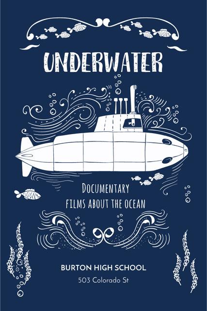 Template di design Underwater documentary film Announcement Pinterest
