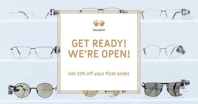 Glasses Store Opening Announcement Facebook AD Modelo de Design