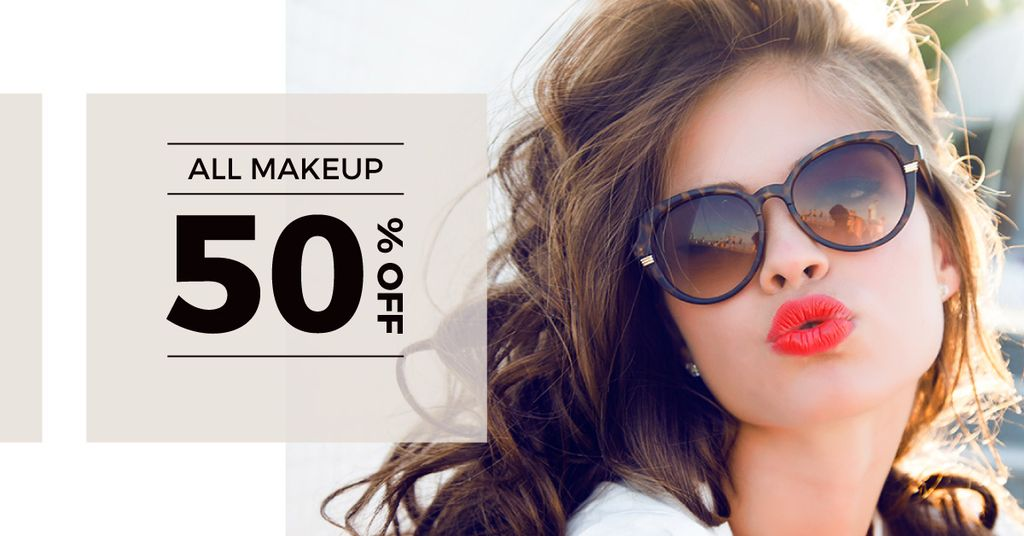 Makeup Offer with Beautiful Young Woman — Crear un diseño