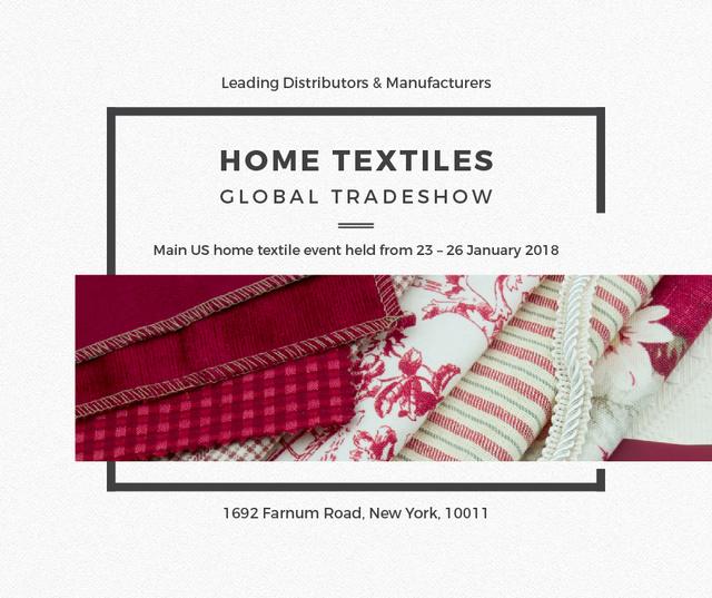 Ontwerpsjabloon van Facebook van Home Textiles Event Announcement in Red