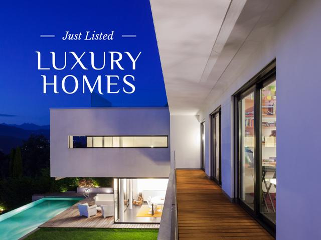 Luxury Homes Offer House with Pool Presentation Design Template