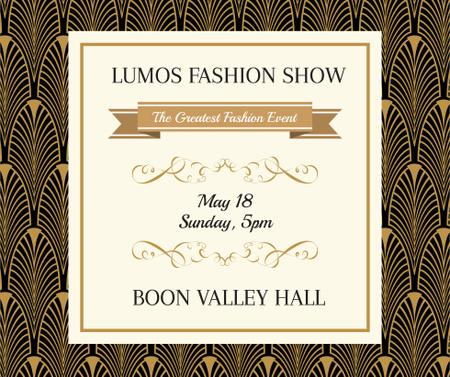 Fashion Show invitation Golden Art Deco pattern Facebook Design Template