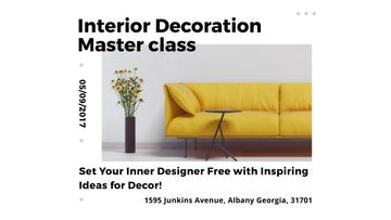 Interior Decoration Event Announcement Sofa in Yellow | Youtube Channel Art