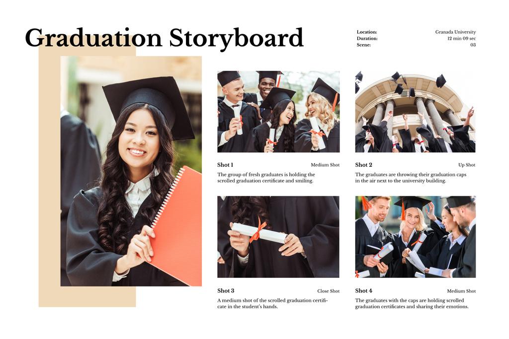 Happy Graduating Students Storyboard Design Template