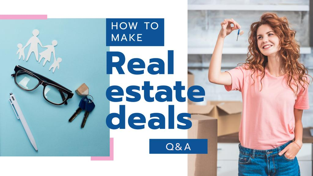 Real Estate Deal Woman Holding Keys — Create a Design