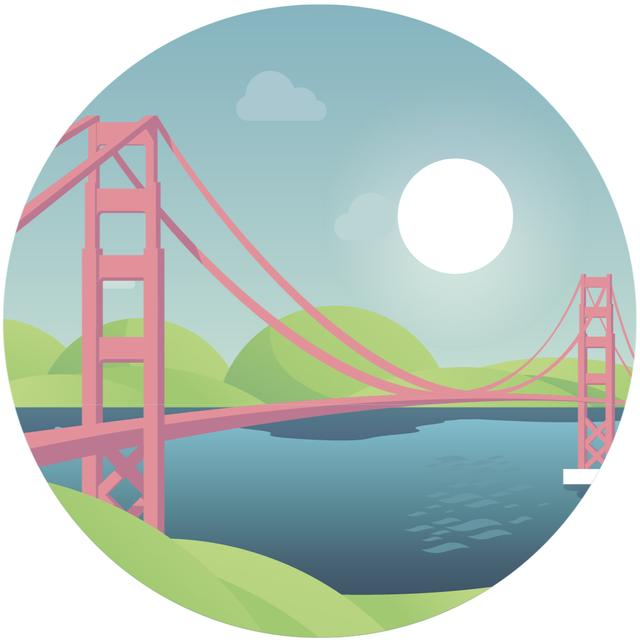 Travelling San Francisco icon Animated Post Design Template