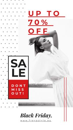 Template di design Black Friday Ad Young woman in white clothes Instagram Story