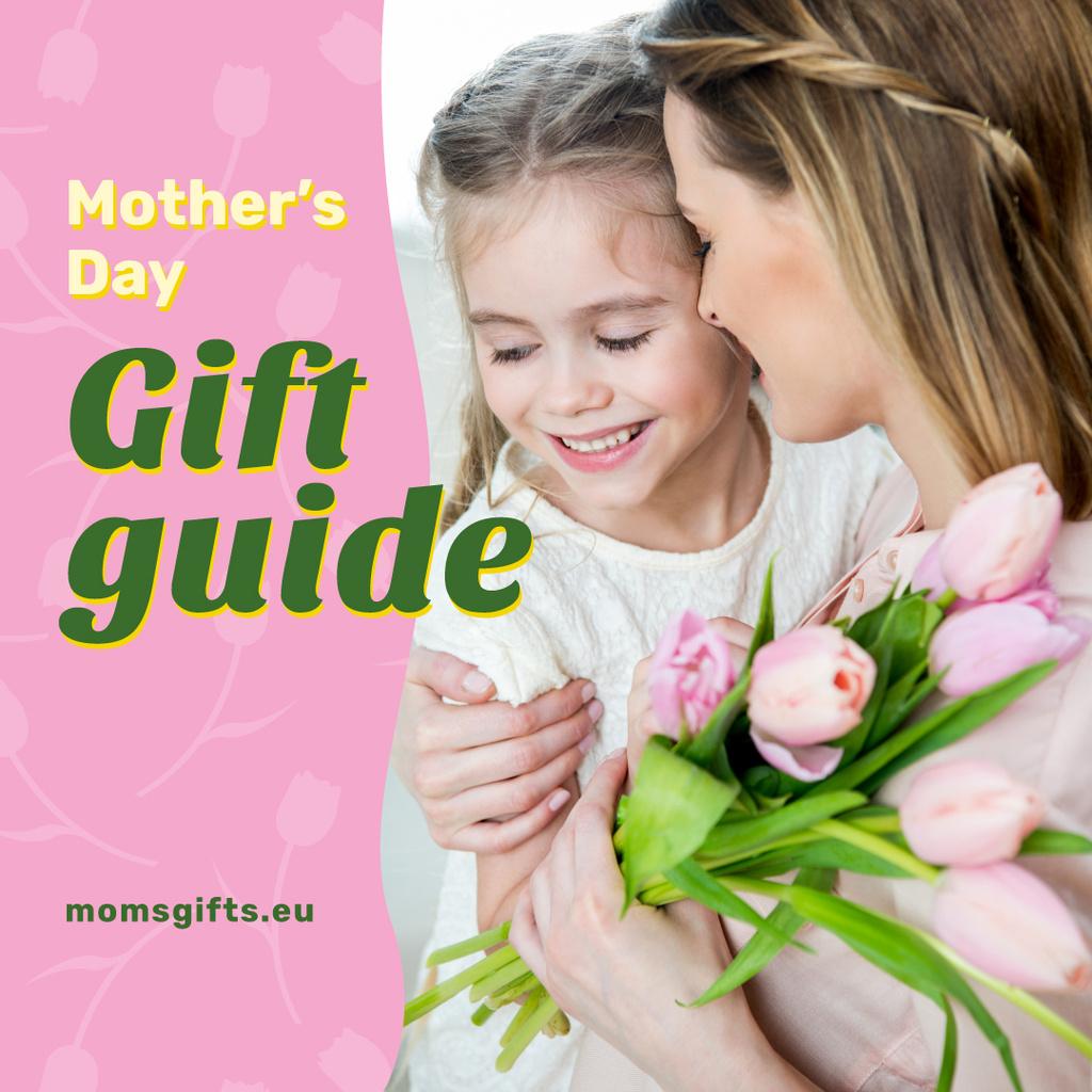 Plantilla de diseño de Happy mother with her daughter on Mother's Day Instagram