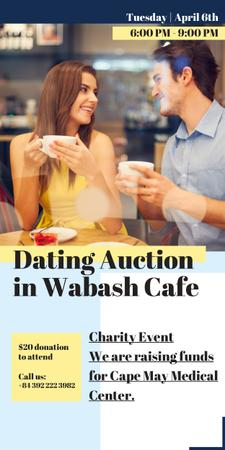 Smiling Couple at Dating Auction Graphic – шаблон для дизайну