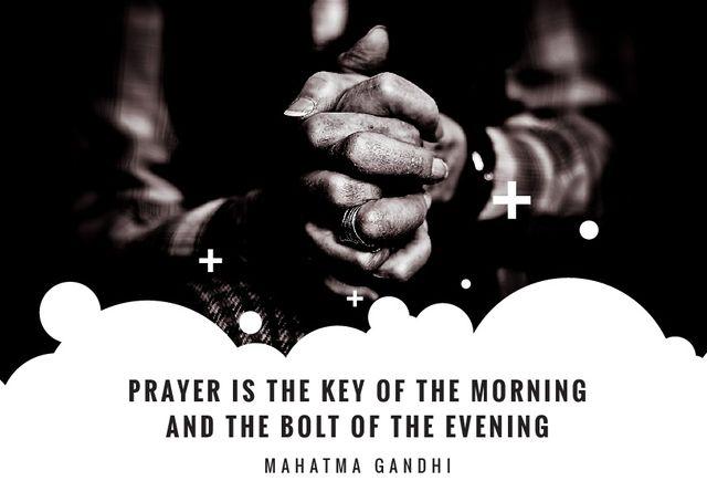 Ontwerpsjabloon van Postcard van Hands Clasped in Religious Prayer