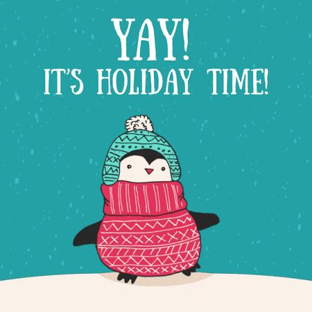Modèle de visuel Winter Greeting with Cute Winter Penguin - Animated Post