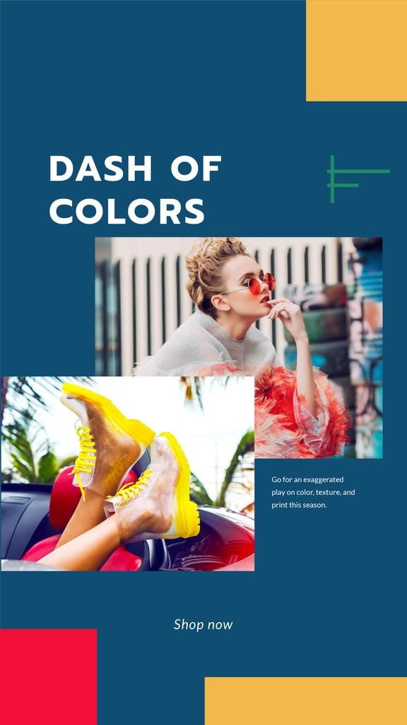 Template di design Fashion Ad with Woman in transparent boots Instagram Story