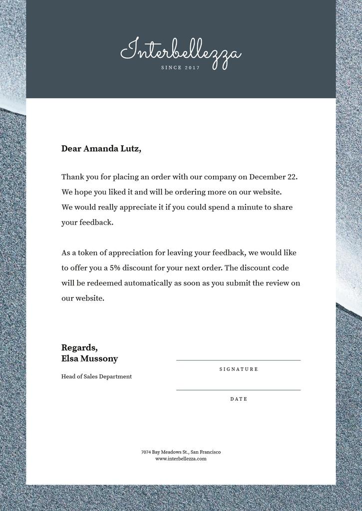 Business Company order gratitude Letterhead Design Template