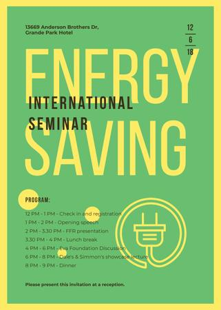 Template di design Socket logo with frame for Energy Saving seminar Invitation