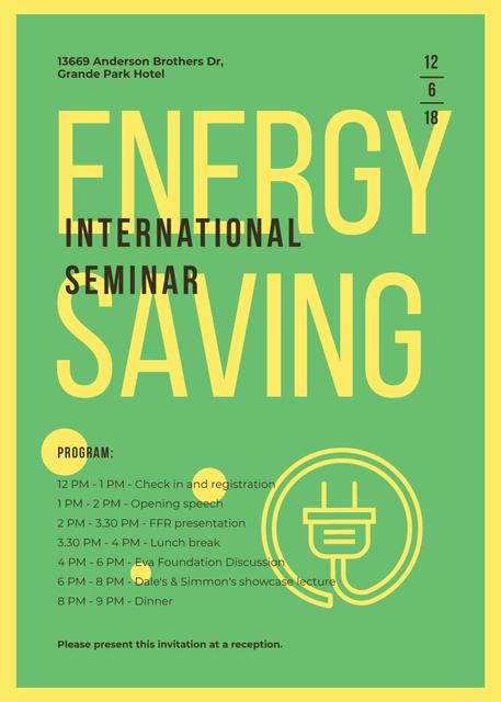 Socket logo with frame for Energy Saving seminar Invitation – шаблон для дизайна