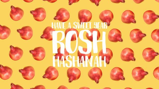 Plantilla de diseño de Rosh Hashanah template with rotating pomegranates Full HD video