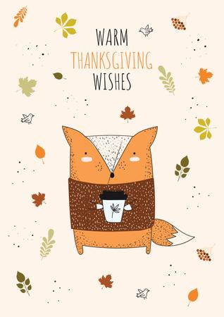 Modèle de visuel Thanksgiving Wishes with Fox holding cup - Poster