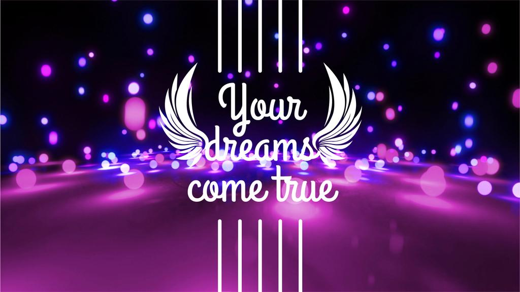 Dreams Quote Glowing Bubbles Falling in Purple | Full Hd Video Template — Create a Design