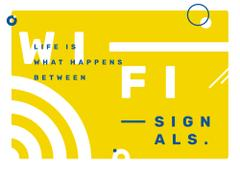 Wi-Fi technology sign in Yellow