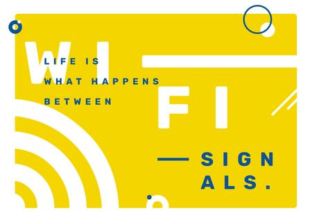 Plantilla de diseño de Wi-Fi technology sign in Yellow Postcard