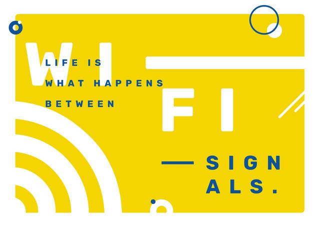 Modèle de visuel Wi-Fi technology sign in Yellow - Postcard