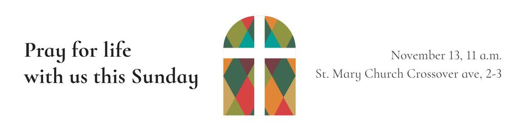Modèle de visuel Invitation to Pray with Church Windows - Twitter