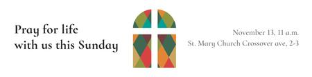 Plantilla de diseño de Invitation to Pray with Church Windows Twitter