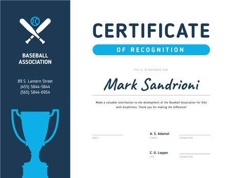 Ontwerpsjabloon van Certificate van Baseball Association Recognition with cup in blue