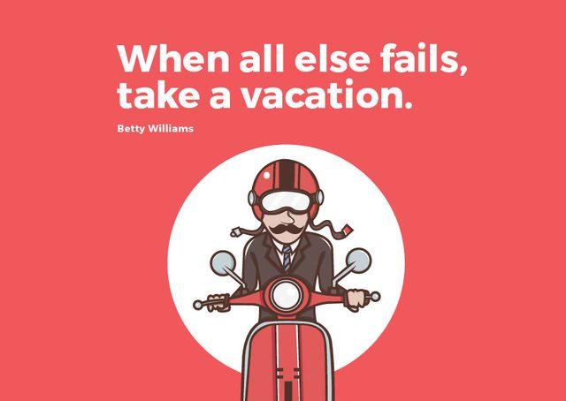 Man going on bike to vacation Card Modelo de Design