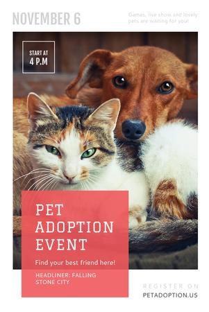 Modèle de visuel Pet Adoption Event with Dog and Cat Hugging - Pinterest