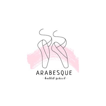 Ballet School Ad Pointe Shoes in Pink | Logo Template