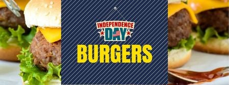 Ontwerpsjabloon van Facebook cover van Independence Day Menu with Burgers