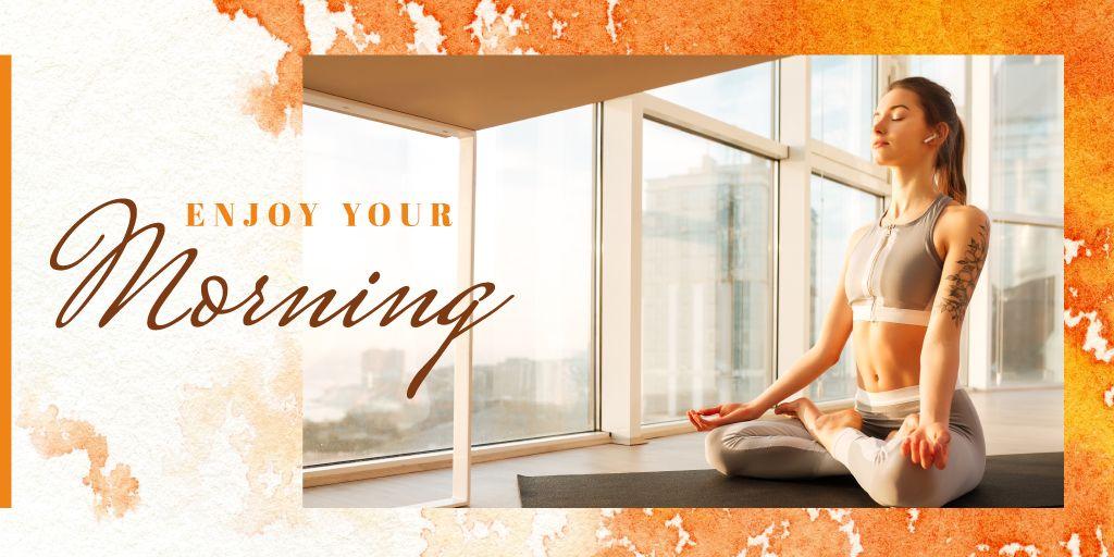Woman doing yoga in the morning — Créer un visuel