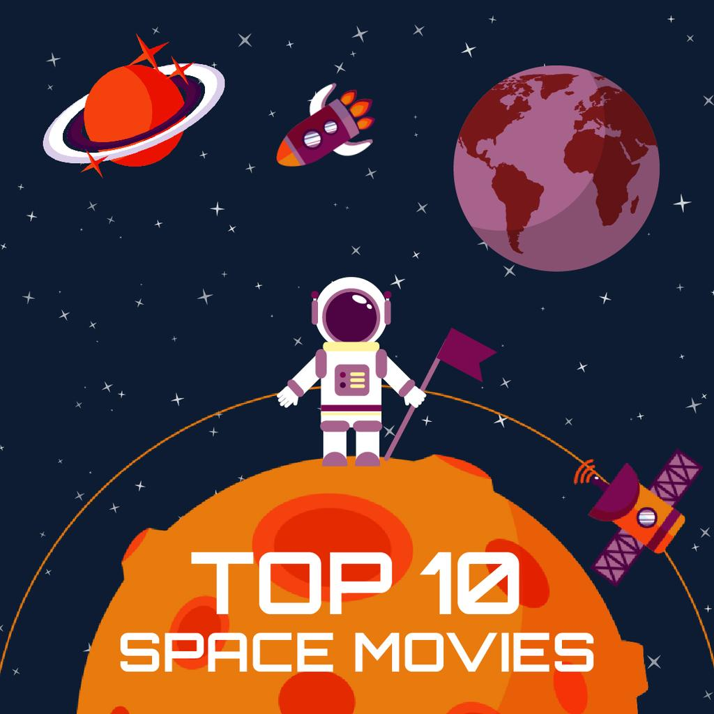 Space Movies Guide with Astronaut in Space — Создать дизайн