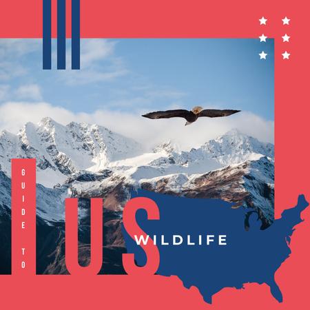 Designvorlage Wild eagle bird in mountains für Instagram