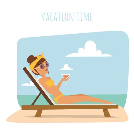 Woman with cocktail resting at the beach Animated Post Modelo de Design