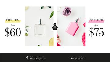 Perfume Offer with Glass Bottles in Flowers