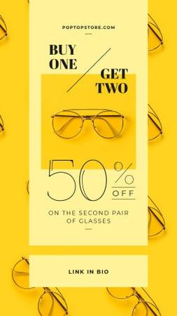 Plantilla de diseño de Optics Promotion Glasses in Rows on Yellow Instagram Video Story