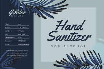Hand Sanitizer ad on palm leaves