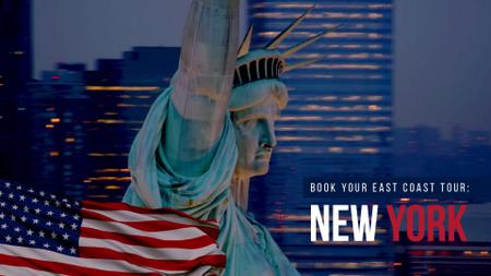Plantilla de diseño de Independence Day greeting with Liberty Statue Full HD video